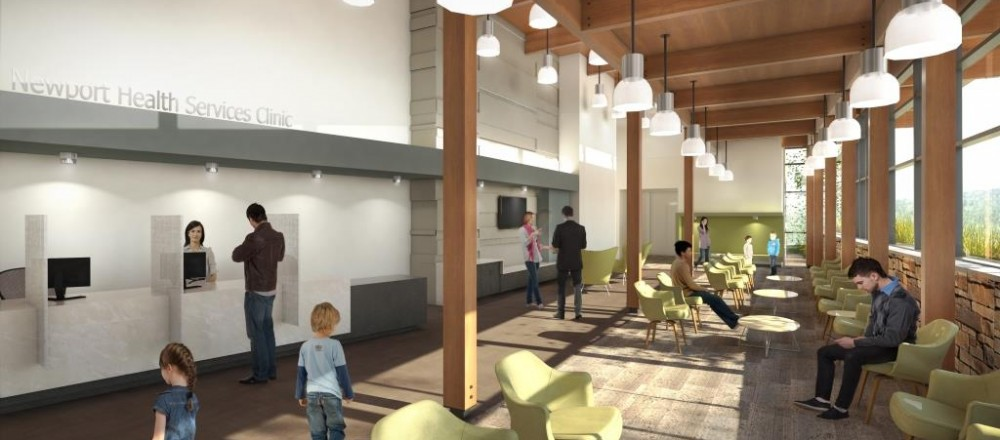 Internal rendering of the new clinic reception area